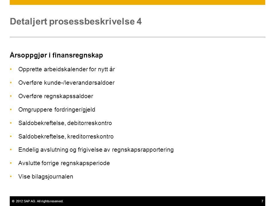 ©2012 SAP AG. All rights reserved.7 Detaljert prosessbeskrivelse 4 Årsoppgjør i finansregnskap •Opprette arbeidskalender for nytt år •Overføre kunde-/