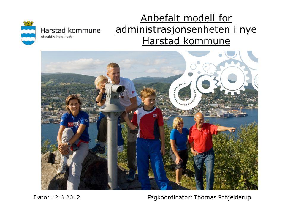Anbefalt modell for administrasjonsenheten i nye Harstad kommune Dato: 12.6.2012 Fagkoordinator: Thomas Schjelderup