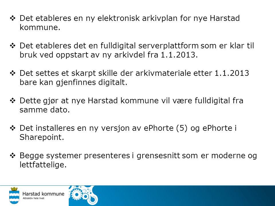 Det etableres en ny elektronisk arkivplan for nye Harstad kommune.  Det etableres det en fulldigital serverplattform som er klar til bruk ved oppst