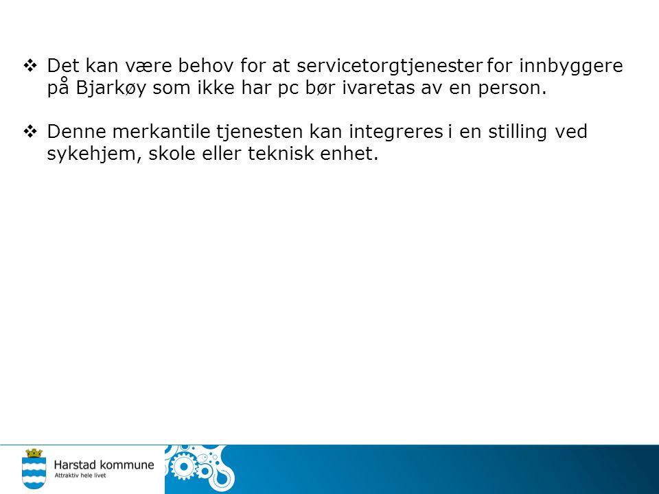  Det kan være behov for at servicetorgtjenester for innbyggere på Bjarkøy som ikke har pc bør ivaretas av en person.  Denne merkantile tjenesten kan