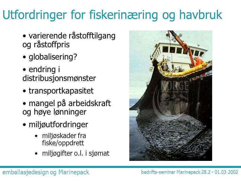 emballasjedesign og Marinepack bedrifts-seminar Marinepack 28.2 - 01.03 2002 Utfordringer for fiskerinæring og havbruk • varierende råstofftilgang og
