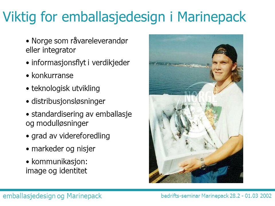 emballasjedesign og Marinepack bedrifts-seminar Marinepack 28.2 - 01.03 2002 Viktig for emballasjedesign i Marinepack • Norge som råvareleverandør ell