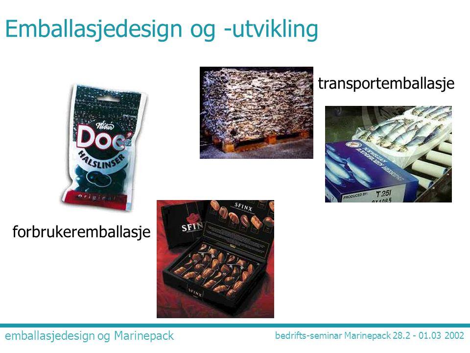 emballasjedesign og Marinepack bedrifts-seminar Marinepack 28.2 - 01.03 2002 Emballasjedesign og -utvikling forbrukeremballasje transportemballasje
