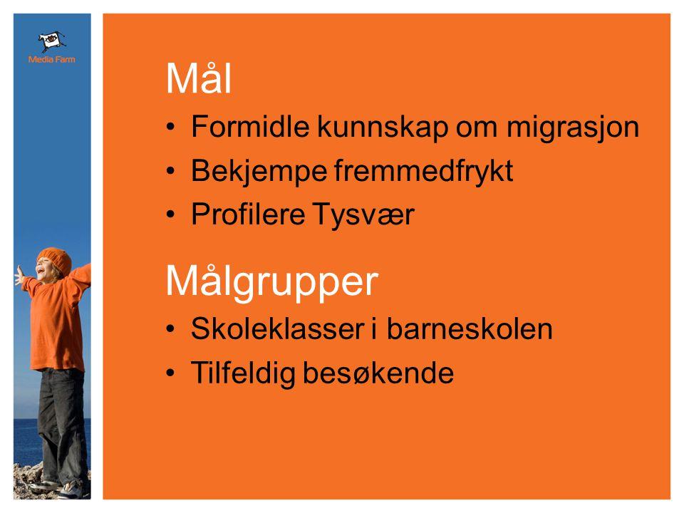 •Formidle kunnskap om migrasjon •Bekjempe fremmedfrykt •Profilere Tysvær Mål •Skoleklasser i barneskolen •Tilfeldig besøkende Målgrupper