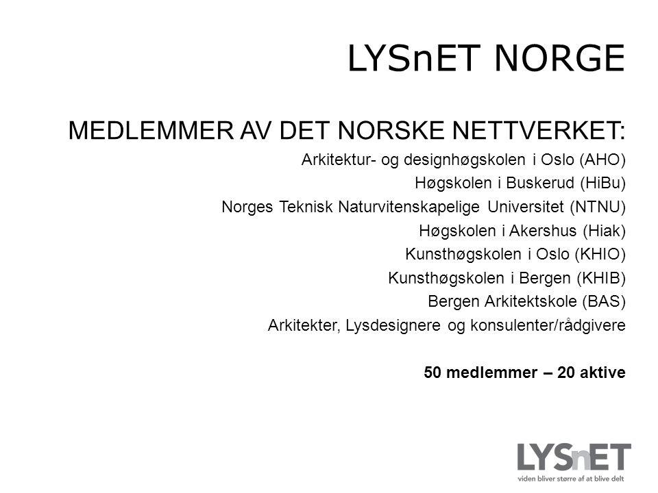 MEDLEMMER AV DET NORSKE NETTVERKET: Arkitektur- og designhøgskolen i Oslo (AHO) Høgskolen i Buskerud (HiBu) Norges Teknisk Naturvitenskapelige Universitet (NTNU) Høgskolen i Akershus (Hiak) Kunsthøgskolen i Oslo (KHIO) Kunsthøgskolen i Bergen (KHIB) Bergen Arkitektskole (BAS) Arkitekter, Lysdesignere og konsulenter/rådgivere 50 medlemmer – 20 aktive LYSnET NORGE