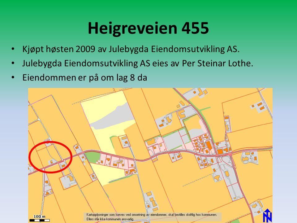 Heigreveien 455 • Kjøpt høsten 2009 av Julebygda Eiendomsutvikling AS. • Julebygda Eiendomsutvikling AS eies av Per Steinar Lothe. • Eiendommen er på