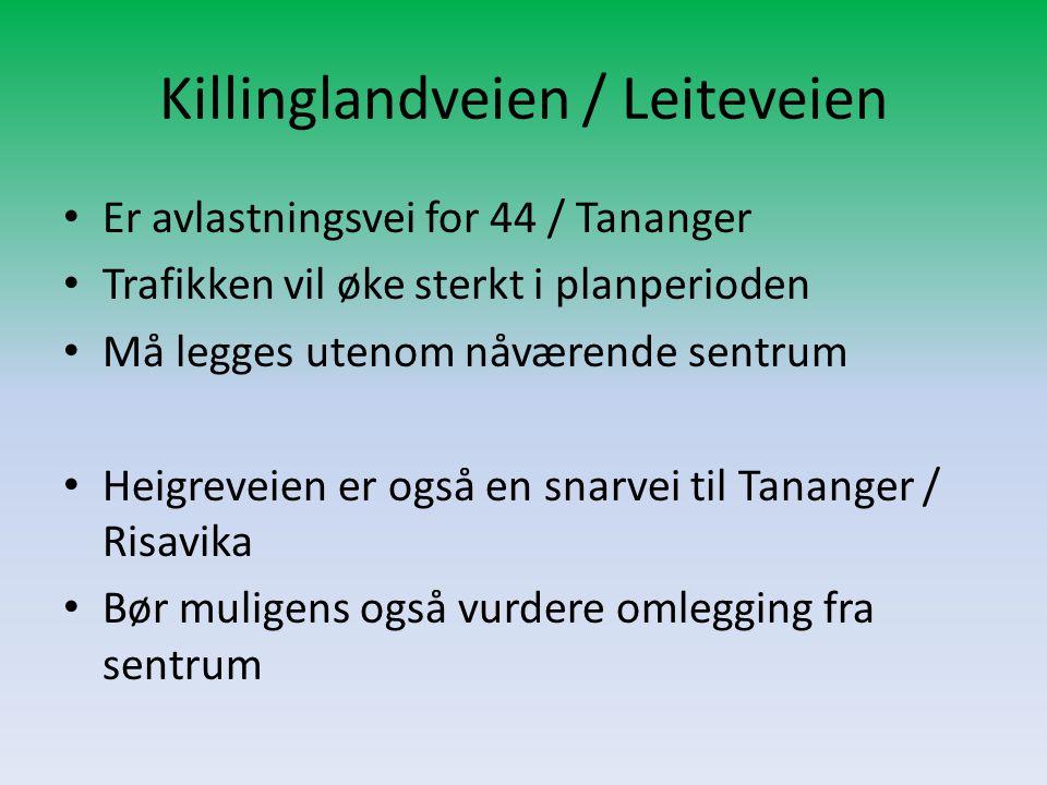 Killinglandveien / Leiteveien • Er avlastningsvei for 44 / Tananger • Trafikken vil øke sterkt i planperioden • Må legges utenom nåværende sentrum • H