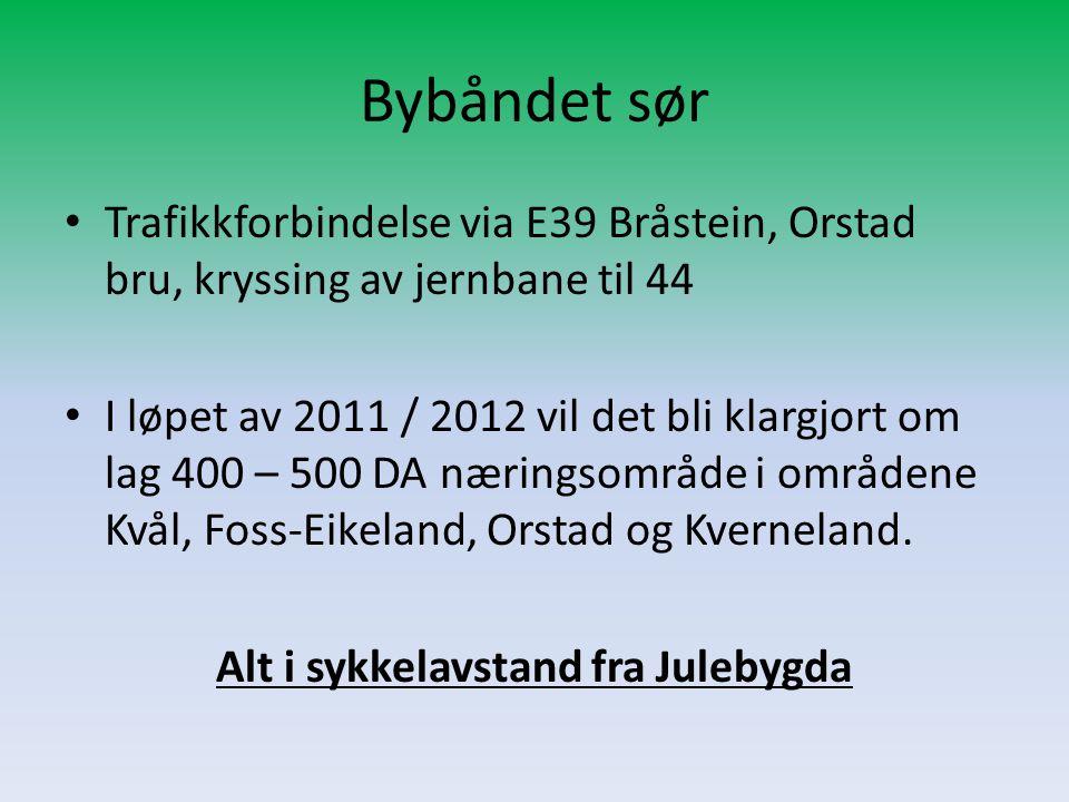 Bybåndet sør • Trafikkforbindelse via E39 Bråstein, Orstad bru, kryssing av jernbane til 44 • I løpet av 2011 / 2012 vil det bli klargjort om lag 400