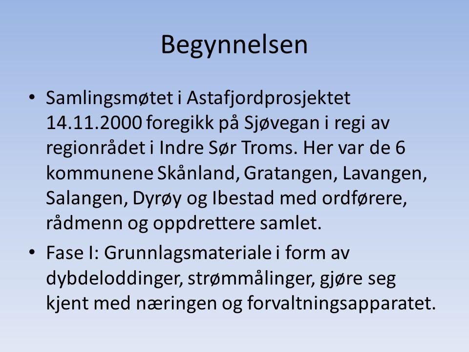 Begynnelsen • Samlingsmøtet i Astafjordprosjektet 14.11.2000 foregikk på Sjøvegan i regi av regionrådet i Indre Sør Troms. Her var de 6 kommunene Skån