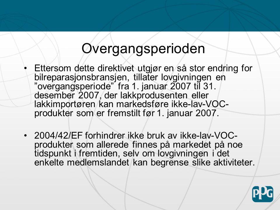 1999/13/EF kontra 2004/42/EF 1999/13/EF2004/42/EF  Overholdelse påhviler verkstedet.