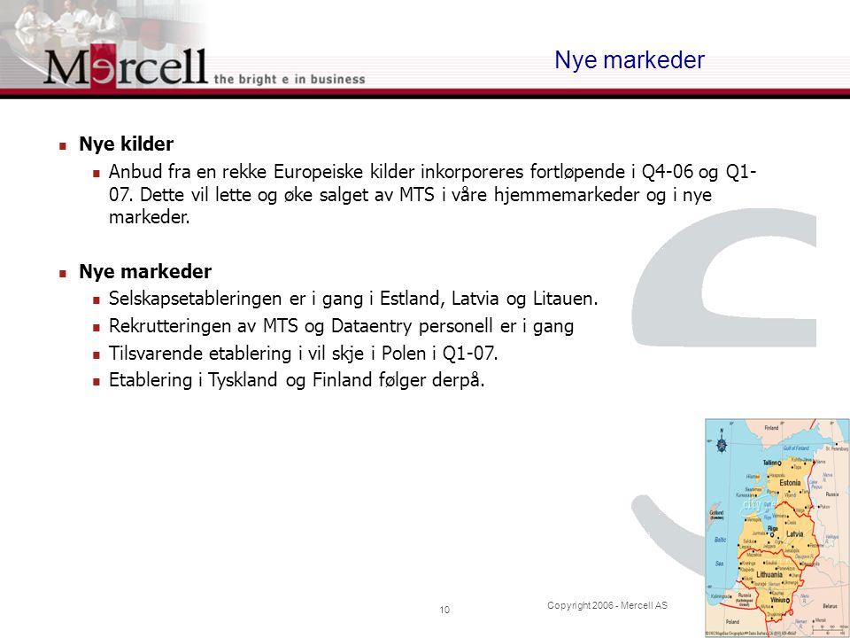 Copyright 2006 - Mercell AS 10 Nye markeder  Nye kilder  Anbud fra en rekke Europeiske kilder inkorporeres fortløpende i Q4-06 og Q1- 07. Dette vil