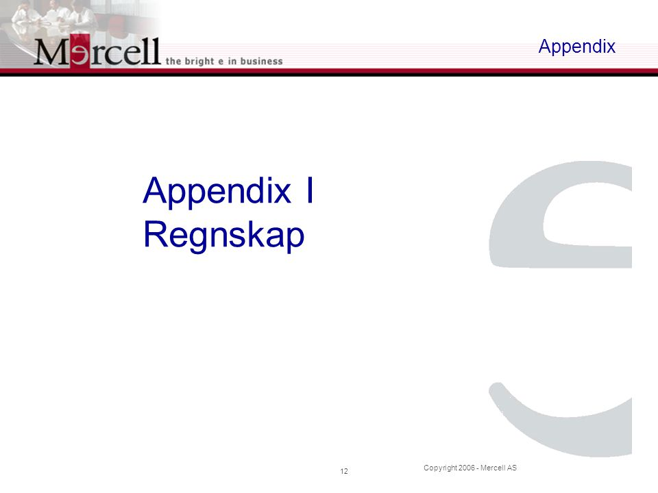 Copyright 2006 - Mercell AS 12 Appendix Appendix I Regnskap