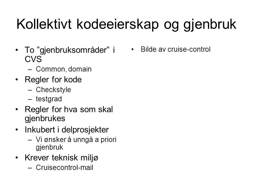 Kollektivt kodeeierskap og gjenbruk •To gjenbruksområder i CVS –Common, domain •Regler for kode –Checkstyle –testgrad •Regler for hva som skal gjenbrukes •Inkubert i delprosjekter –Vi ønsker å unngå a priori gjenbruk •Krever teknisk miljø –Cruisecontrol-mail •Bilde av cruise-control