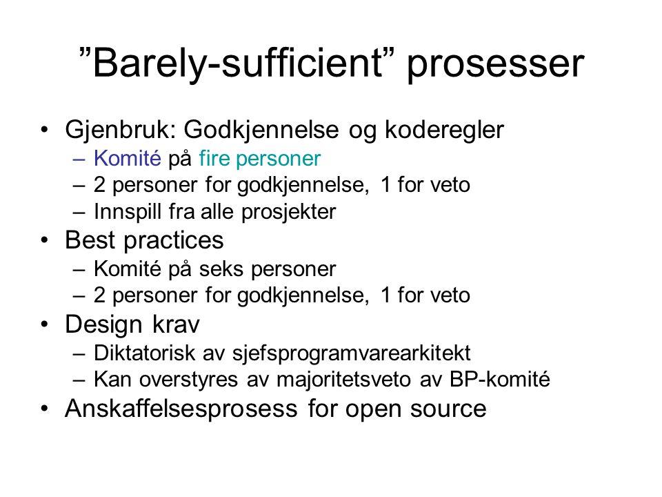 Barely-sufficient prosesser •Gjenbruk: Godkjennelse og koderegler –Komité på fire personer –2 personer for godkjennelse, 1 for veto –Innspill fra alle prosjekter •Best practices –Komité på seks personer –2 personer for godkjennelse, 1 for veto •Design krav –Diktatorisk av sjefsprogramvarearkitekt –Kan overstyres av majoritetsveto av BP-komité •Anskaffelsesprosess for open source