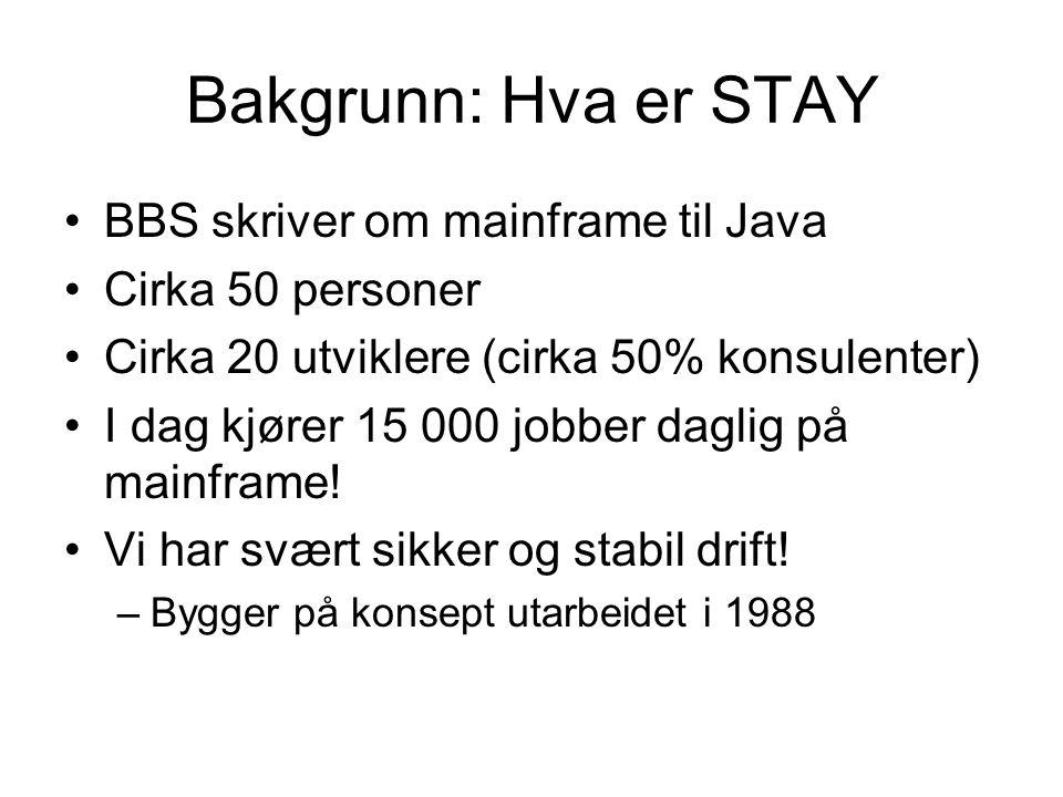 Bakgrunn: Hva er STAY •BBS skriver om mainframe til Java •Cirka 50 personer •Cirka 20 utviklere (cirka 50% konsulenter) •I dag kjører 15 000 jobber daglig på mainframe.