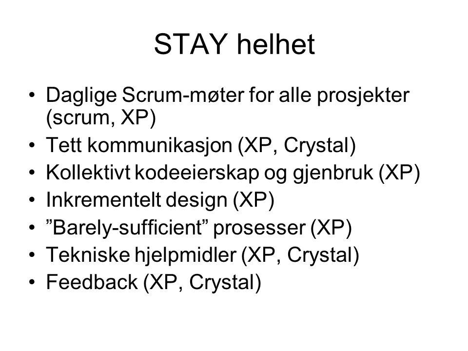 STAY helhet •Daglige Scrum-møter for alle prosjekter (scrum, XP) •Tett kommunikasjon (XP, Crystal) •Kollektivt kodeeierskap og gjenbruk (XP) •Inkrementelt design (XP) • Barely-sufficient prosesser (XP) •Tekniske hjelpmidler (XP, Crystal) •Feedback (XP, Crystal)
