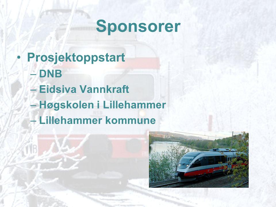 Sponsorer •Prosjektoppstart –DNB –Eidsiva Vannkraft –Høgskolen i Lillehammer –Lillehammer kommune