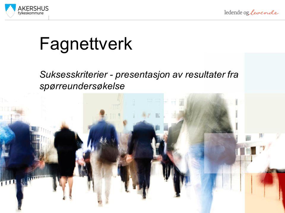 Fagnettverk Suksesskriterier - presentasjon av resultater fra spørreundersøkelse