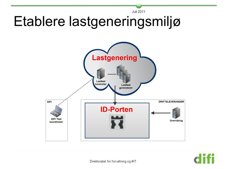 Etablere lastgeneringsmiljø Direktoratet for forvaltning og IKT Juli 2011