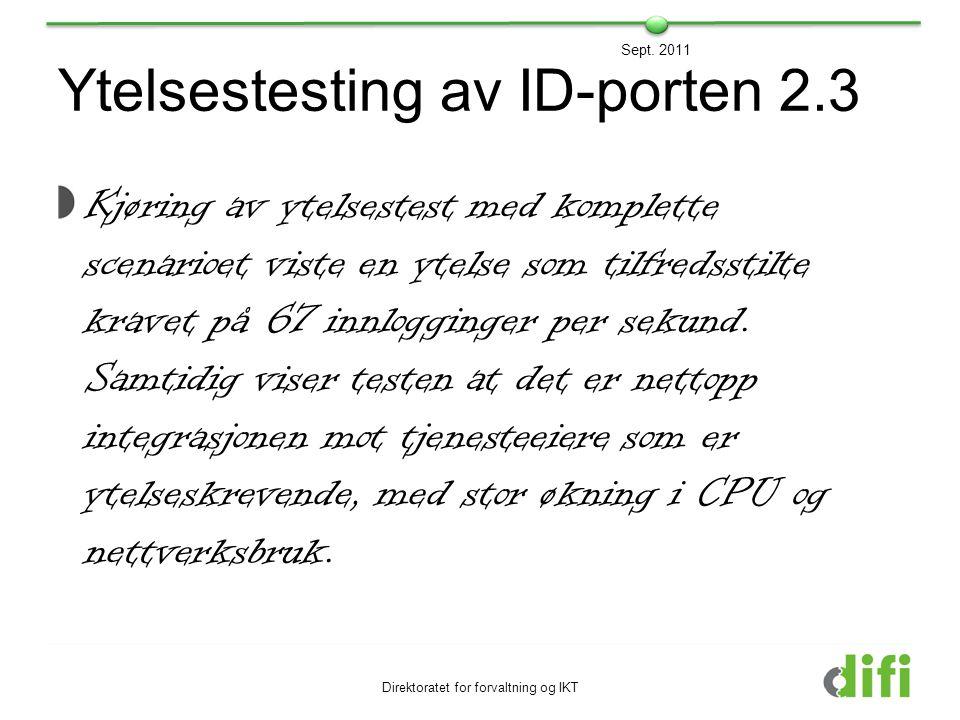 Ytelsestesting av ID-porten 2.3 Kjøring av ytelsestest med komplette scenarioet viste en ytelse som tilfredsstilte kravet på 67 innlogginger per sekun