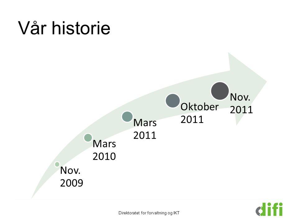Vår historie Nov. 2009 Mars 2010 Mars 2011 Oktobe r 2011 Nov. 2011 Direktoratet for forvaltning og IKT