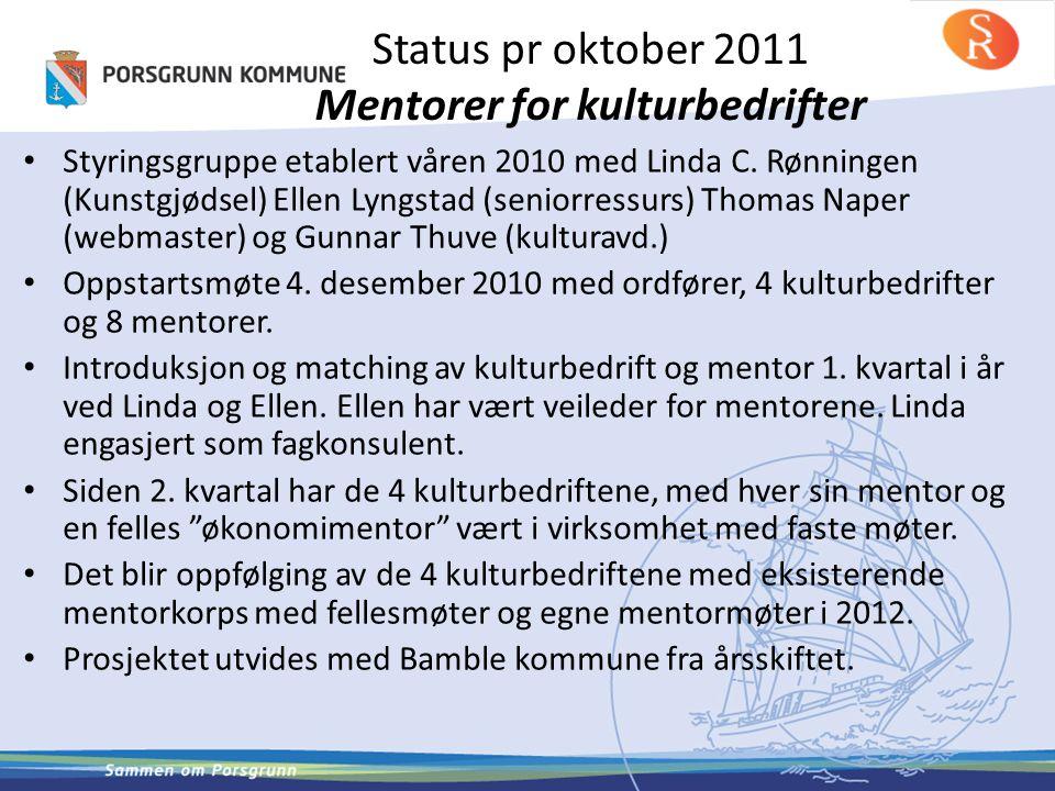 Status pr oktober 2011 Mentorer for kulturbedrifter • Styringsgruppe etablert våren 2010 med Linda C. Rønningen (Kunstgjødsel) Ellen Lyngstad (seniorr
