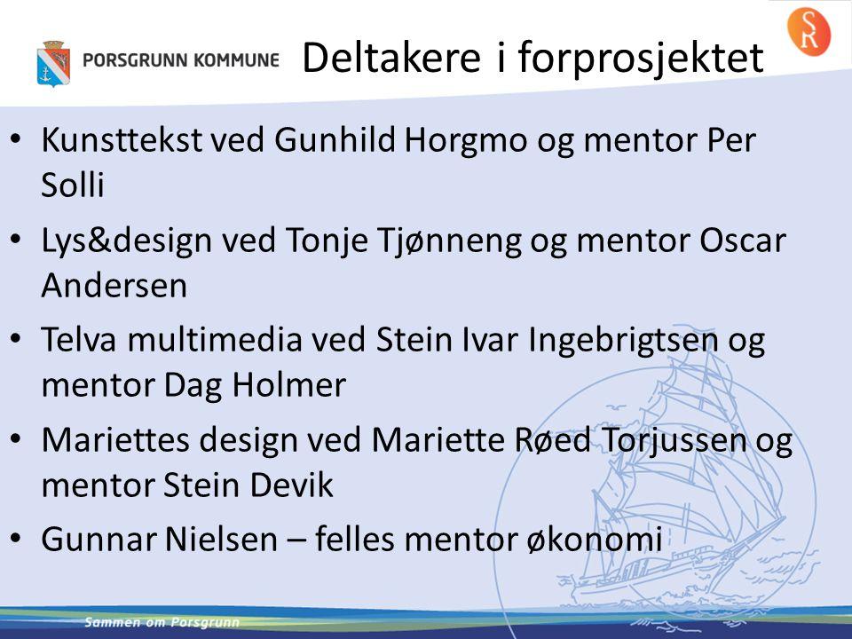 Deltakere i forprosjektet • Kunsttekst ved Gunhild Horgmo og mentor Per Solli • Lys&design ved Tonje Tjønneng og mentor Oscar Andersen • Telva multime