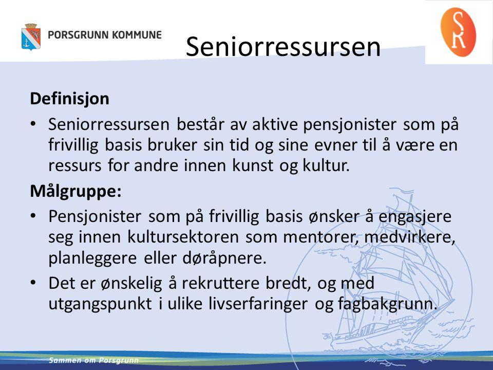 Seniorressursen Definisjon • Seniorressursen består av aktive pensjonister som på frivillig basis bruker sin tid og sine evner til å være en ressurs f