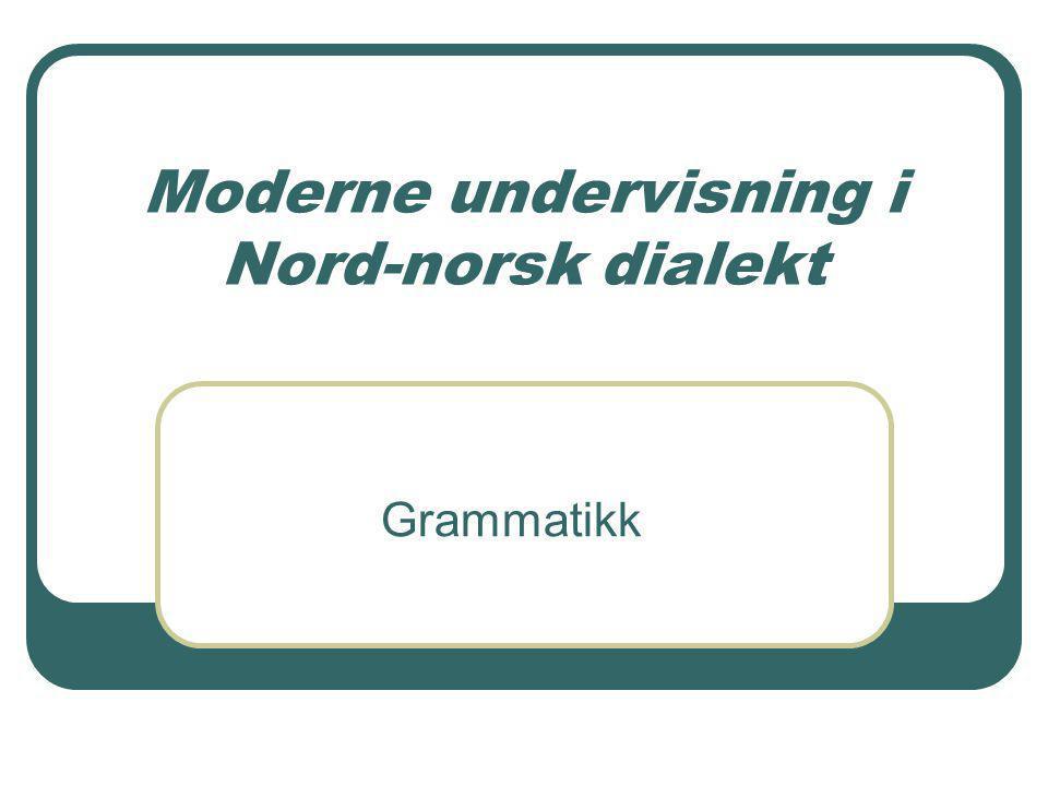 Moderne undervisning i Nord-norsk dialekt Grammatikk