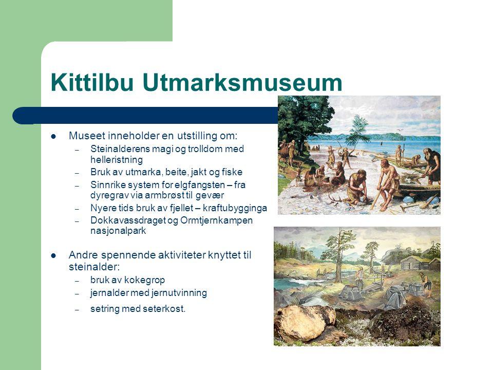 Kittilbu Utmarksmuseum  Museet inneholder en utstilling om: – Steinalderens magi og trolldom med helleristning – Bruk av utmarka, beite, jakt og fisk