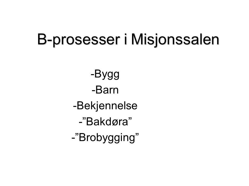 B-prosesser i Misjonssalen -Bygg -Barn -Bekjennelse - Bakdøra - Brobygging