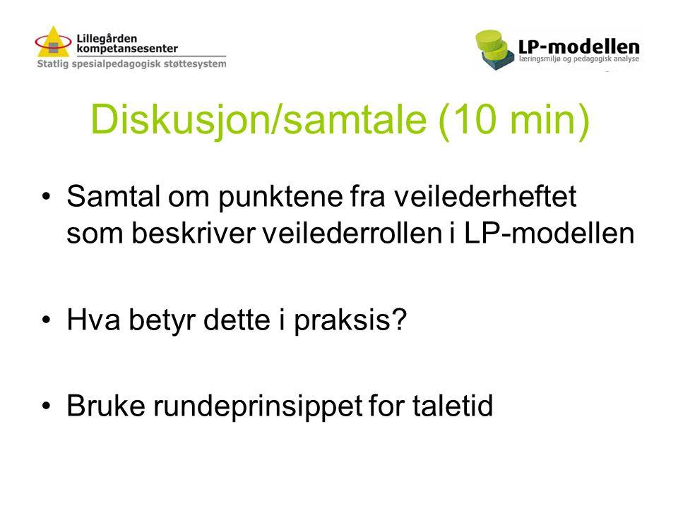 Diskusjon/samtale (10 min) •Samtal om punktene fra veilederheftet som beskriver veilederrollen i LP-modellen •Hva betyr dette i praksis? •Bruke rundep