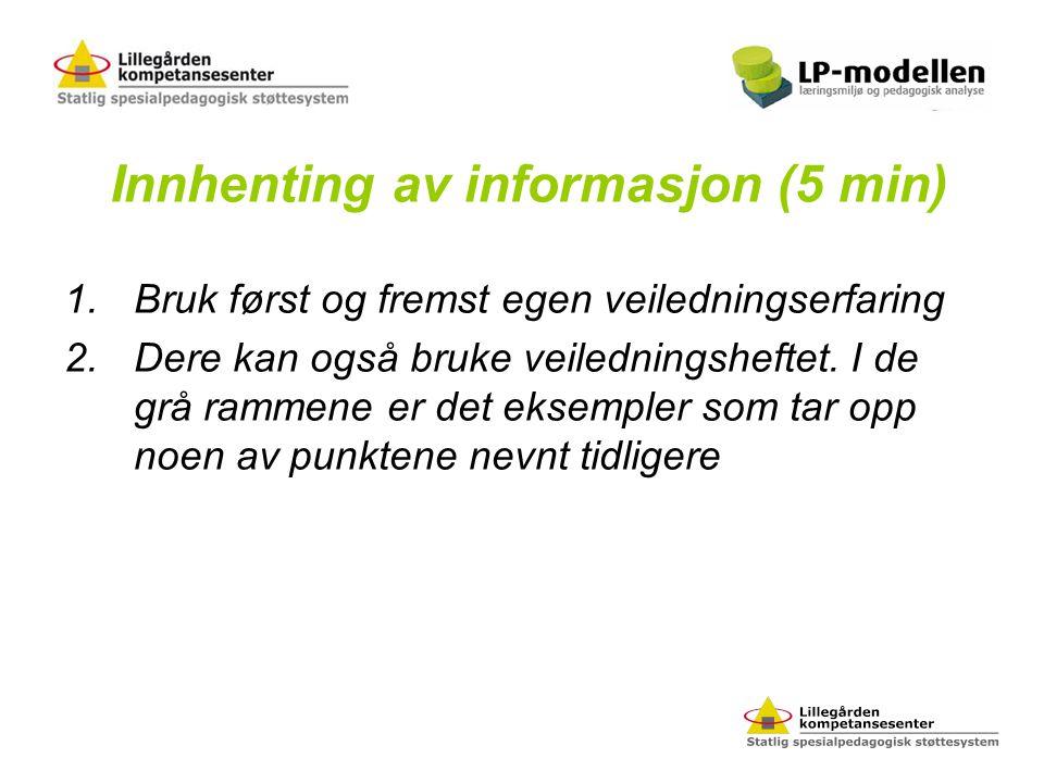 Innhenting av informasjon (5 min) 1.Bruk først og fremst egen veiledningserfaring 2.Dere kan også bruke veiledningsheftet. I de grå rammene er det eks