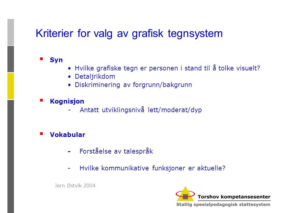  Syn •Hvilke grafiske tegn er personen i stand til å tolke visuelt? •Detaljrikdom •Diskriminering av forgrunn/bakgrunn  Kognisjon - Antatt utvikling