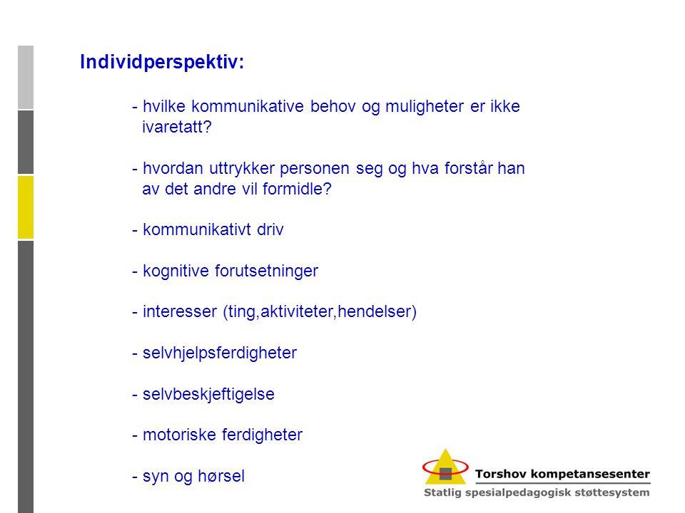 Individperspektiv: - hvilke kommunikative behov og muligheter er ikke ivaretatt.