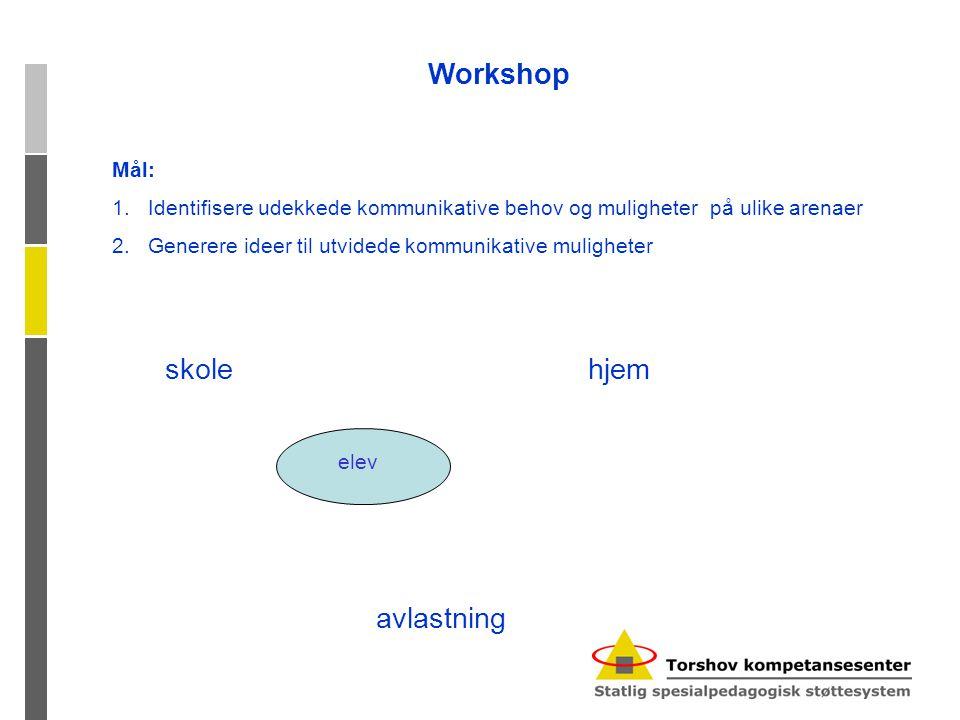 Workshop Mål: 1.Identifisere udekkede kommunikative behov og muligheter på ulike arenaer 2.Generere ideer til utvidede kommunikative muligheter hjem avlastning skole elev