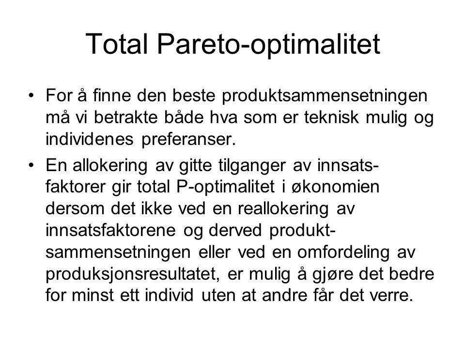 Total Pareto-optimalitet •For å finne den beste produktsammensetningen må vi betrakte både hva som er teknisk mulig og individenes preferanser. •En al