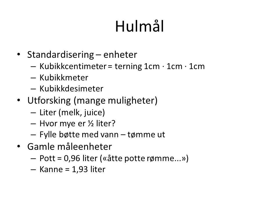 Hulmål • Standardisering – enheter – Kubikkcentimeter = terning 1cm ∙ 1cm ∙ 1cm – Kubikkmeter – Kubikkdesimeter • Utforsking (mange muligheter) – Lite
