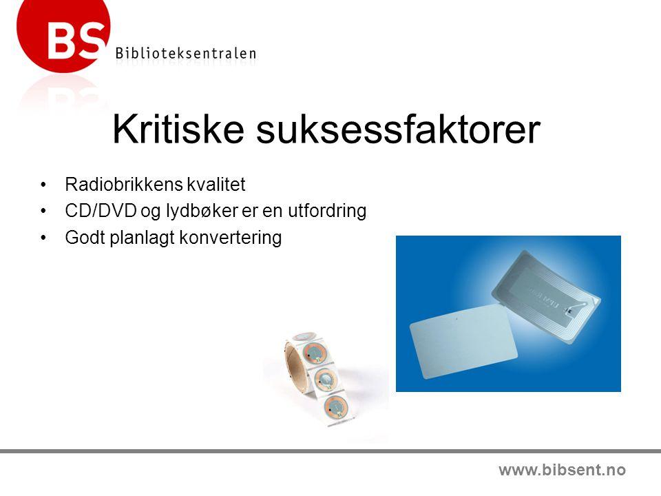 www.bibsent.no Kritiske suksessfaktorer •Radiobrikkens kvalitet •CD/DVD og lydbøker er en utfordring •Godt planlagt konvertering