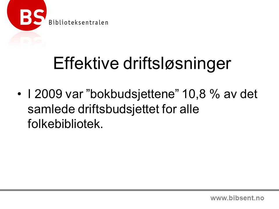 www.bibsent.no Effektive driftsløsninger •I 2009 var bokbudsjettene 10,8 % av det samlede driftsbudsjettet for alle folkebibliotek.