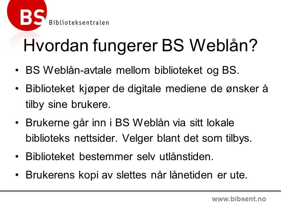 www.bibsent.no Hvordan fungerer BS Weblån. •BS Weblån-avtale mellom biblioteket og BS.