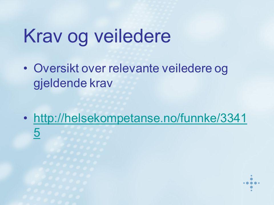 Krav og veiledere •Oversikt over relevante veiledere og gjeldende krav •http://helsekompetanse.no/funnke/3341 5http://helsekompetanse.no/funnke/3341 5
