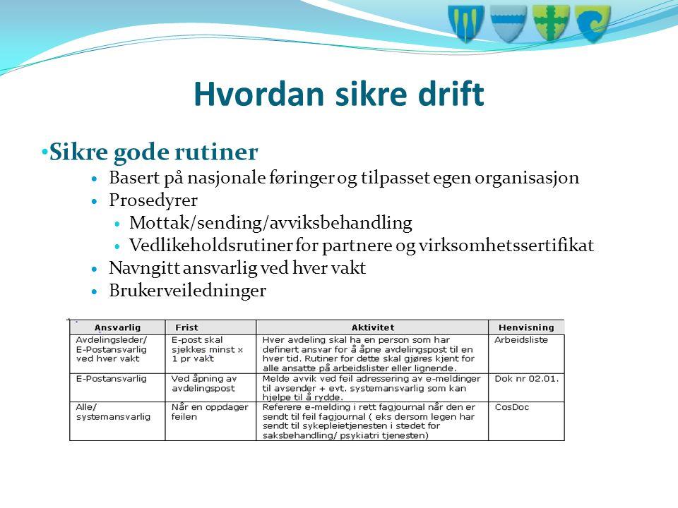 Hvordan sikre drift • Sikre gode rutiner  Basert på nasjonale føringer og tilpasset egen organisasjon  Prosedyrer  Mottak/sending/avviksbehandling
