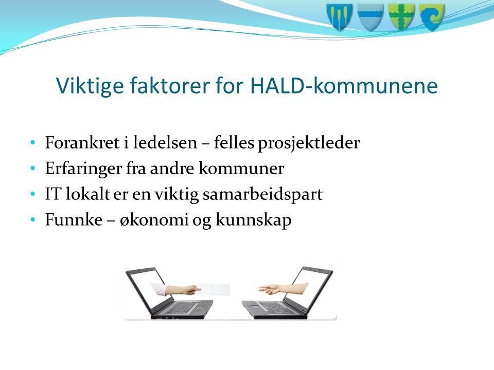 Viktige faktorer for HALD-kommunene • Forankret i ledelsen – felles prosjektleder • Erfaringer fra andre kommuner • IT lokalt er en viktig samarbeidsp