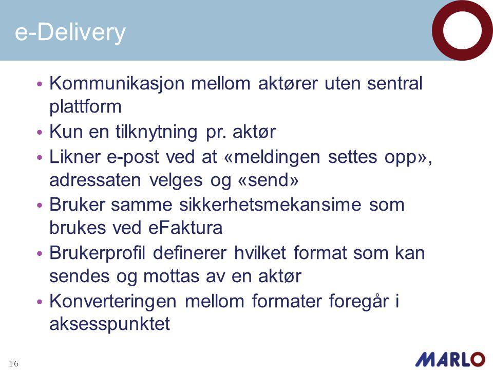 e-Delivery • Kommunikasjon mellom aktører uten sentral plattform • Kun en tilknytning pr. aktør • Likner e-post ved at «meldingen settes opp», adressa
