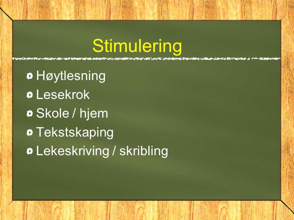 Stimulering Høytlesning Lesekrok Skole / hjem Tekstskaping Lekeskriving / skribling