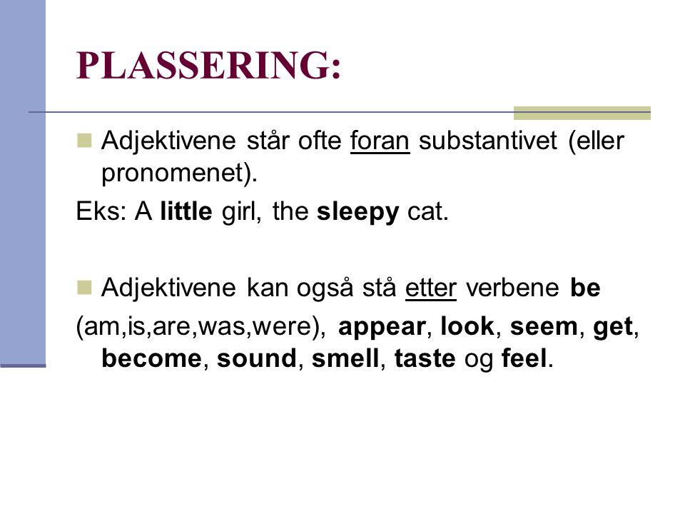 PLASSERING:  Adjektivene står ofte foran substantivet (eller pronomenet). Eks: A little girl, the sleepy cat.  Adjektivene kan også stå etter verben