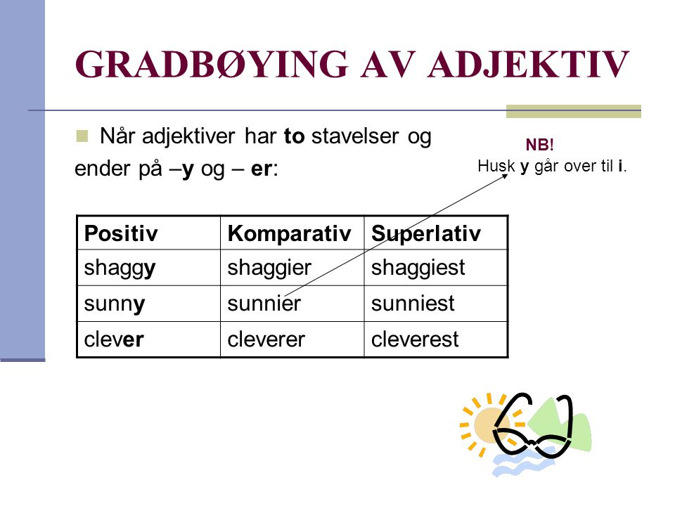 GRADBØYING AV ADJEKTIV  Når adjektiver har to stavelser og ender på –y og – er: PositivKomparativSuperlativ shaggyshaggiershaggiest sunnysunniersunni