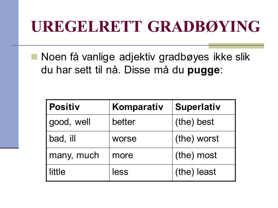 Uregelrette adjektiv engelsk