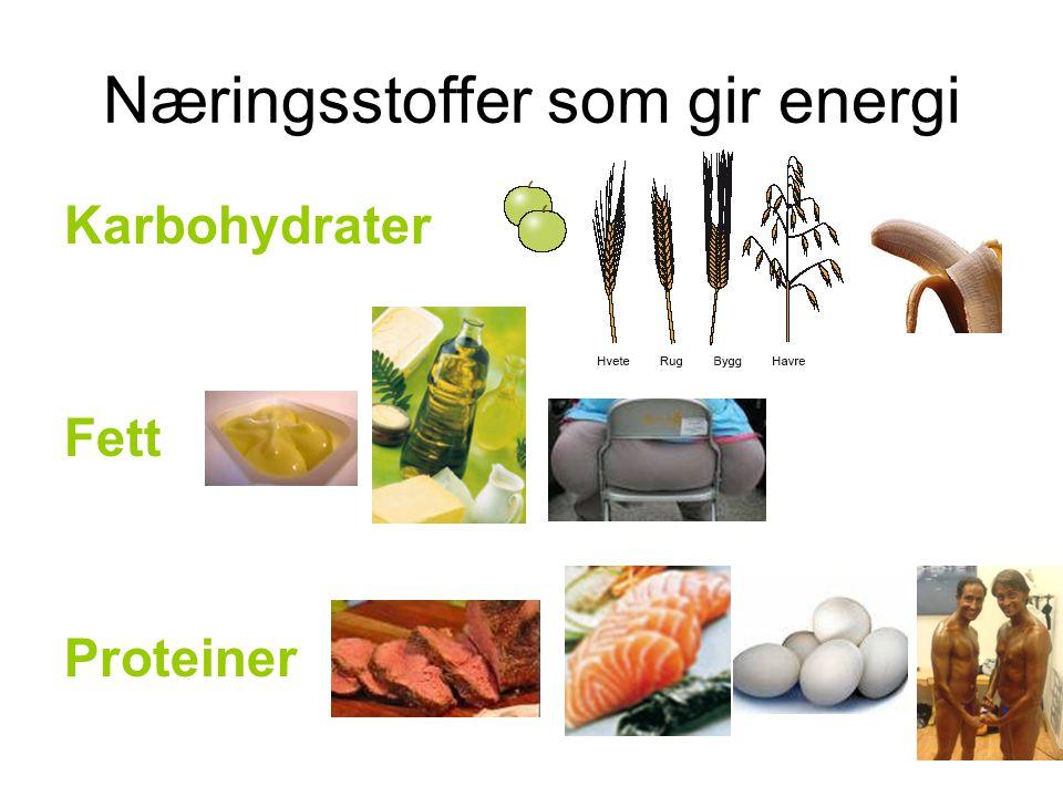 Næringsstoffer som gir energi Karbohydrater Fett Proteiner